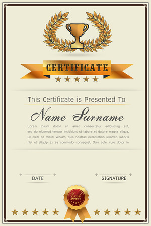 qualification: Graceful certificate template with Luxury and modern pattern, Qualification certificate blank template with elegant,Gold with beige