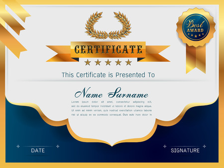 qualification: Graceful certificate template with Luxury and modern pattern, Qualification certificate blank template with elegant,Gold with blue,Vector illustration
