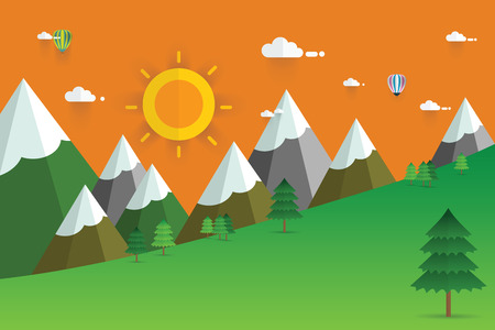 morning sky: Sunshine morning in the mountains. Summer or spring landscape,  background. Green meadows, pine forest, mountains and sun on morning sky. Flat style illustration of nature. Illustration