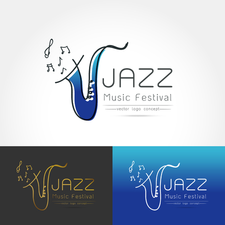 rhythm: Modern linear thin flat design. The stylized image of saxophone. Jazz music festival logo Template for covers, logo, posters, invitations on white background Vector illustration