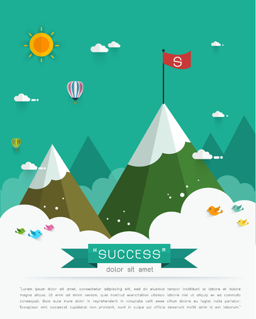 Landscape with flag on the mountain. Success concept illustration. Overcoming difficulties.Vector illustration