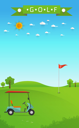 sand trap: of golf field beautiful landscape,Golf hole banner  green tree illustration with golf cart flag and trees