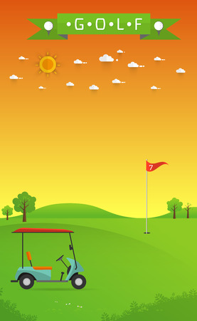 sand trap: Golf field beautiful landscape,Golf hole banner  green tree  illustration with golf cart flag and trees Illustration