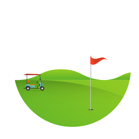 of golf field beautiful landscape,Golf hole banner green tree  illustration with golf cart flag and trees