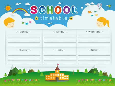 weekly: frame design of School Timetable, Schedule,Weekly school timetable