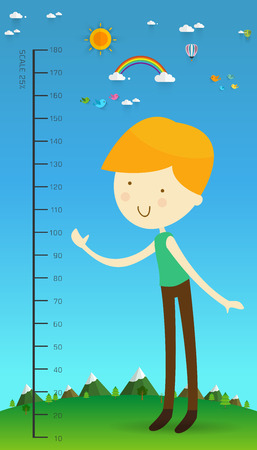 Meter wall with Cartoon character boy vector illustration