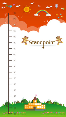 height chart: Background of Meter wall with teddy bear , meter from 10 to 180 centimeter,Vector illustrations
