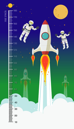 height: Background of children height meter, meter space theme , meter from 10 to 180 centimeter,Vector illustrations