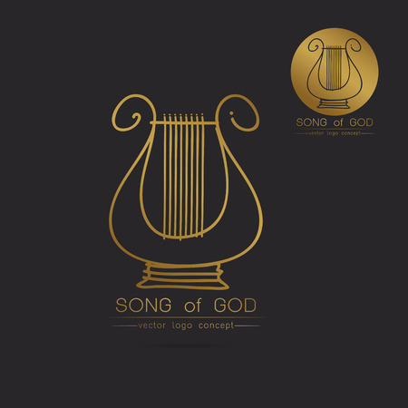 Modern linear thin flat design. The stylized image of lyre logo. classic music festival logo Template for covers, logo, posters, invitations,Modern art thin line of the classical lyre icon