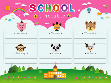 background frame design of School Timetable with animal head, Schedule,Weekly school timetable vector illustration