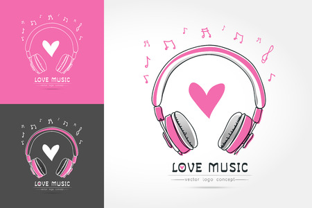 Modern linear thin flat design. The stylized image of Headphone with heart. Vettoriali