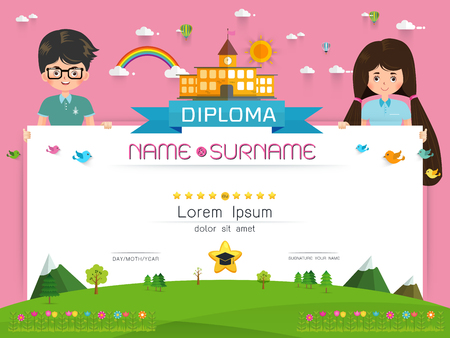 Certificate kids diploma kindergarten template layout background certificate kids diploma kindergarten template layout background frame design vector illustration preschool elementary school yelopaper Image collections