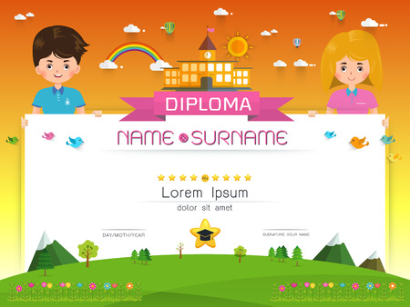 Certificado Diploma De Niños, Diseño De Marco De Fondo De Diseño De ...