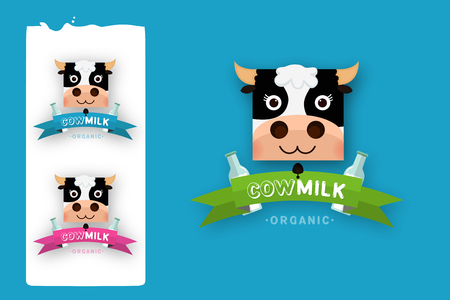 Milk elegant vector logo template. Label, sticker, icon. Symbol for milk and skim. Web graphics, banners, advertisements, brochures, business templates. Isolated on a blue background