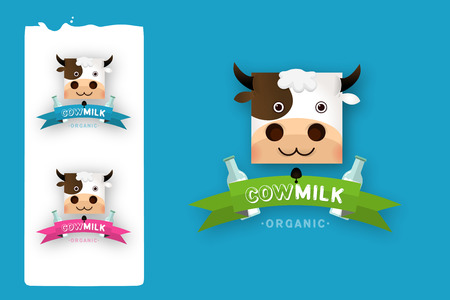 creamery: Milk elegant vector logo template. Label, sticker, icon. Symbol for milk and skim. Web graphics, banners, advertisements, brochures, business templates. Isolated on a blue background