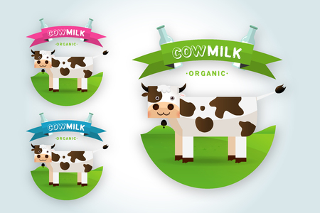 creamery: Cow Milk elegant vector logo template. Label, sticker, icon. Symbol for milk and skim. Web graphics, banners, advertisements, brochures, business templates. Isolated on a white background