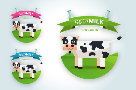 Cow Milk elegant vector logo template. Label, sticker, icon. Symbol for milk and skim. Web graphics, banners, advertisements, brochures, business templates. Isolated on a white background
