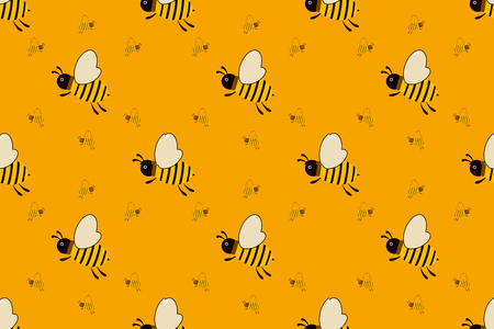 Seamless pattern with orange bees vector illustration . For the packaging of creams, cosmetics, food, bee venom to treat. Wrap bee products, fashion textile, covers smartphones on honey bee, apitherapy.