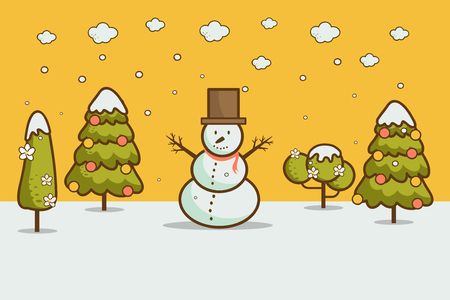 Nature, cartoon style winter landscape with Christmas trees, snowman, snow drifts. merry christmas & happy new year card  background vector illustration