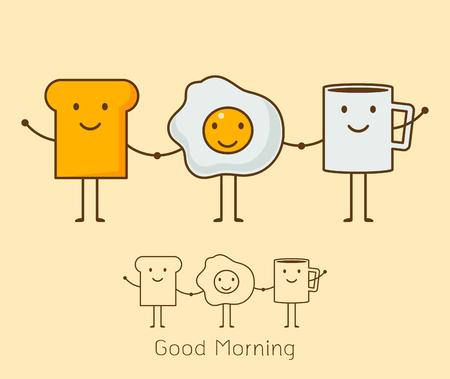 Conjunto de icono de estilo de dibujos animados lindo de un café, huevos y pan tostado.