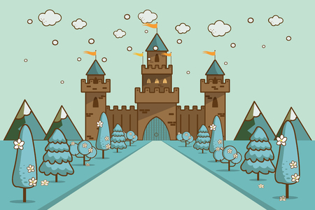 Cute cartoon fantasy fairytale castle in a winter landscape of a rolling hills vector Illustration