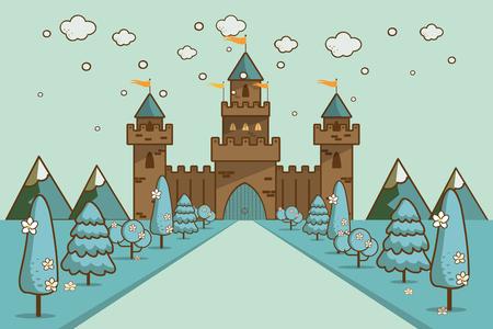 Cute cartoon fantasy fairytale castle in a winter landscape of a rolling hills vector Illustration
