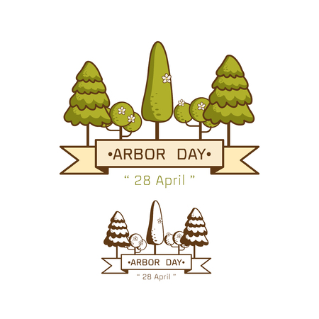 Logo icon National Arbor Day on white background Vector illustration.