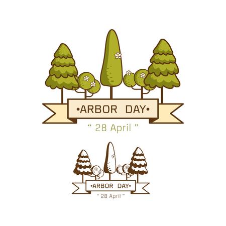 Logo icon National Arbor Day on white background Vector illustration.