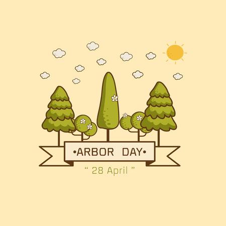 Logo icon National Arbor Day on yellow background Vector illustration. Illustration