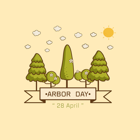 Logo icon National Arbor Day on yellow background Vector illustration.