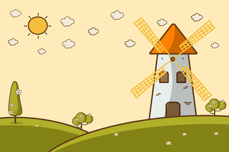 Nature Landscape with a windmill cute cartoon style Vector illustration. Mill and the summer hilly landscape