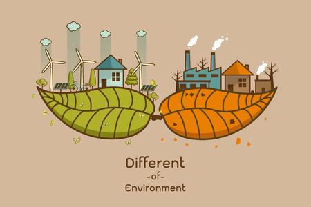 Das unterschiedliche der Umweltlandschaftsfabrik und des Waldes, der grünen Informationen des Ökologiekonzeptes mit Ökologie und der grünen Stadt der Energieeinsparung oder der sauberen Energie mit grüner Sammlung Ökologieinformationssammlung.