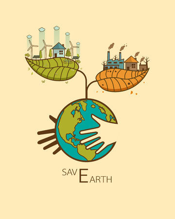 Save the Earth concept with hand hugging planet earth concept.