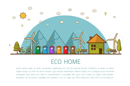 Vector illustration of recycling trash bins Municipal waste segregation management concept.  flat line style concept of eco home, renewable energy, ecology.