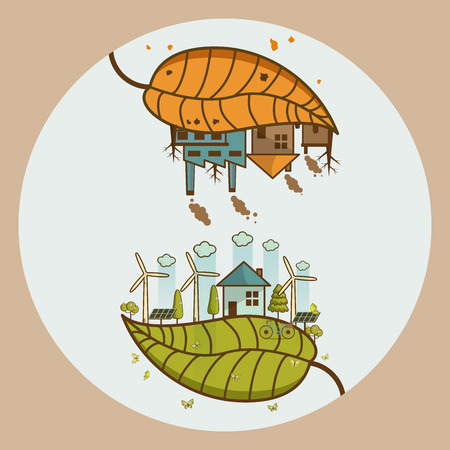 Different Environmental landscape factory and forest vector illustration