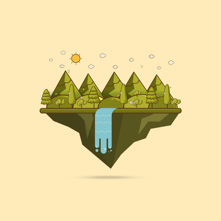 Landscape illustration. Mountain river, waterfall, mountains, hills, and clouds. Flat design vector Illustration