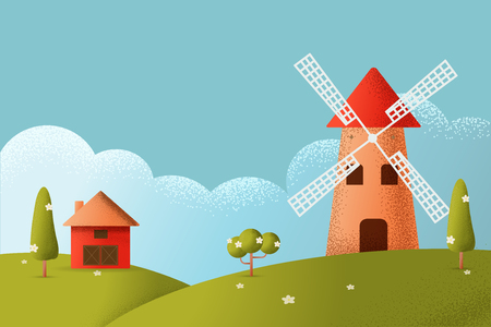 Cartoon farm field green seeding field, red barn on a green farmers field, large field farming striped, Farm flat landscape. Vector texture style concept illustration.