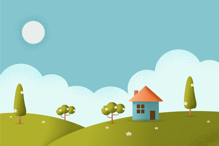 Illustration of a cartoon house inside beautiful meadows landscape in summer season. Vector texture style concept illustration. Иллюстрация
