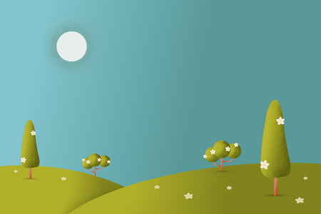 Meadow landscape with grass foreground texture style vector illustration Illustration