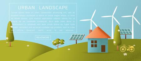 Eco friendly house - solar energy, wind energy,Green energy ,urban landscape ,eco home renewable energy ecology,Vector texture style concept illustration.