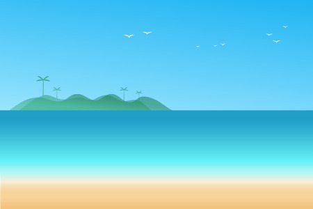Vector illustration minimal seascape background with mountain range and cloud between archipelago. Illustration