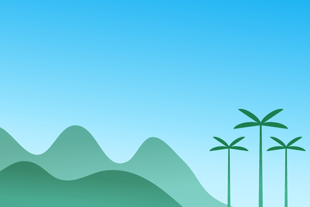 minimal mountain landscape with tree on blue background Vector illustration
