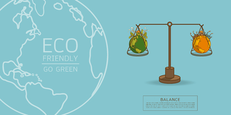 The different of Environmentally landscape factory and forest ,green earth- ecology concept green information with World globe on a scale . Balance concept. Flat vector illustration