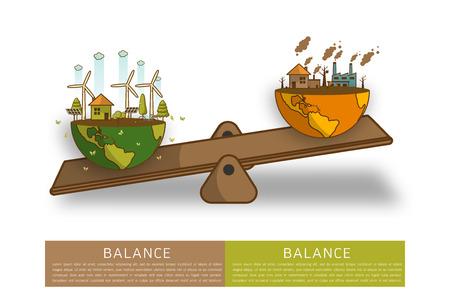 Das Unterschiedliche der umweltfreundlichen Landschaftsfabrik und des Waldes, grüne Erdökologiekonzept-Grüninformationen mit Weltkugel auf einer Skala. Balance-Konzept. Flache Vektor-Illustration