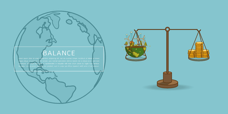 World globe on a scale with heaps of gold dollar coins.The different of Environmentally landscape factory and forest ,green earth- ecology concept green information . Balance concept. Flat vector illustration Balance concept. Flat vector illustration Illustration