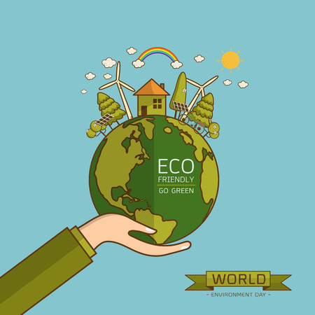 World Environment Day. Vector illustration with hands holding the earth globe and wind turbine, bike , solar cell ,house, and trees. Concept for posters, greeting card, ecology, recycling and nature. Vectores