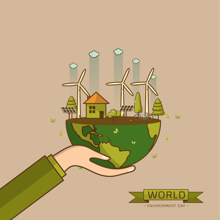 World Environment Day. Vector illustration with hands holding the earth globe and wind turbine, bike , solar cell ,house, and trees. Concept for posters, greeting card, ecology, recycling and nature. Иллюстрация