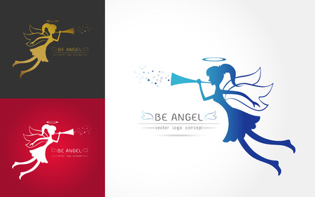 Set of logo line art style Christmas Angel blowing a trumpet. Heavenly messenger symbol ,Vector illustration