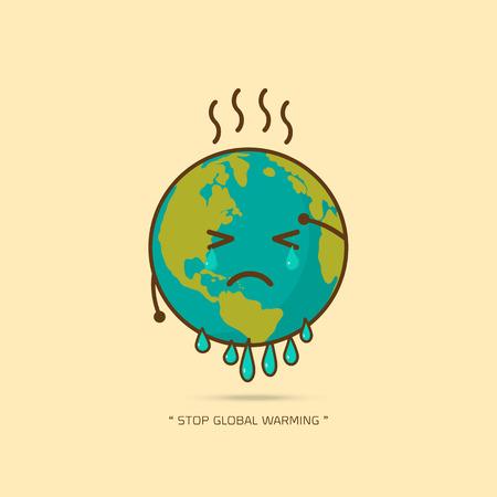 Stopp globale Erwärmung. Zeichentrickfigur des Planeten Erde auf gelbem Hintergrundvektorillustration.