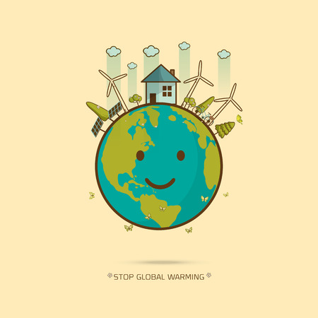 Eco green world stop global warming , we can save world concept , cute cartoon l vector illustration Ilustração